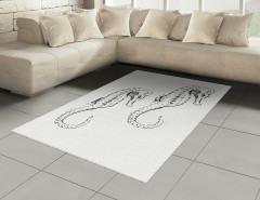 Siyah Denizatı Desenli Halı (Kilim) Beyaz Şık Tasarım