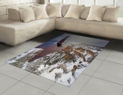 Kartal ve Karlı Dağ Halı (Kilim) Kahverengi