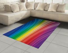 Rengarenk Çizgili Halı (Kilim) Geometrik Desenli Şık