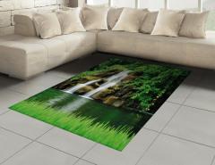 Yeşil Doğa ve Şelale Halı (Kilim) Şık