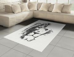 Dekoratif Gri Aslan Halı (Kilim) Beyaz Fonlu