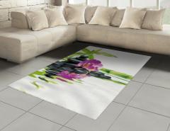 Mor Orkide ve Siyah Taş Halı (Kilim) Dekoratif