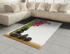 Orkide ve Siyah Taşlar Halı (Kilim) Dekoratif