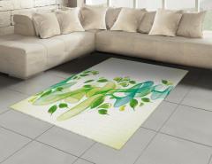 Yaprak ve Kurdele Halı (Kilim) Yeşil Mavi