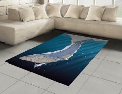 Şık Deniz ve Balina Halı (Kilim) Mavi Beyaz