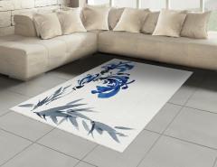 Gri Mavi Çiçek Desenli Halı (Kilim) Şık Dekoratif