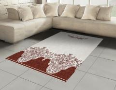 Kahverengi Çiçek Halı (Kilim) Beyaz Fonlu