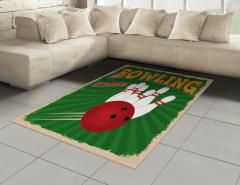 Bovling Temalı Halı (Kilim) Retro Afiş Yeşil Kırmızı