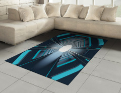 Mavi Işıklı Tünel Halı (Kilim) Siyah Uzay