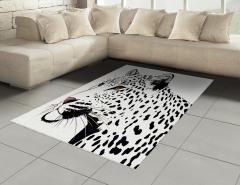 Siyah Beyaz Leopar Halı (Kilim) Şık Tasarım