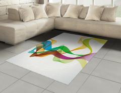 Rengarenk Dalga Desenli Halı (Kilim) Kurdele Efektli