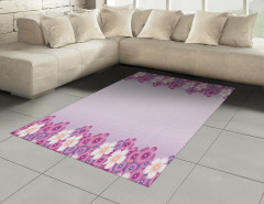 Lila Çiçek Desenli Halı (Kilim) Çeyizlik Şık Tasarım