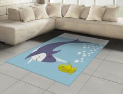 Su Altında Köpek Balığı Halı (Kilim) Mavi