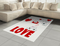 Kalpli Köpek Desenli Halı (Kilim) Aşk Temalı Kırmızı
