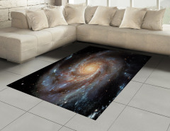 Kozmos Temalı Halı (Kilim) Gri Galaksi Uzay Evren