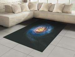 Kozmik Temalı Halı (Kilim) Sarmal Desenli Mavi Uzay
