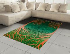 Ağaç ve Çiçek Desenli Halı (Kilim) Turuncu Yeşil Şık