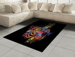 Flüt Çalan Kadın Desenli Halı (Kilim) Rengarenk