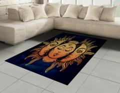 Güneşin Yüzü Desenli Halı (Kilim) Sarı Lacivert