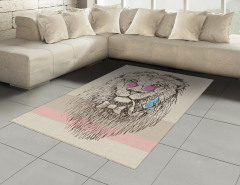 Pembe Gözlüklü Aslan Halı (Kilim) Portre Şık
