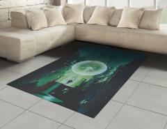 Yıldırım Küresi Temalı Halı (Kilim) Yeşil Şık Tasarım