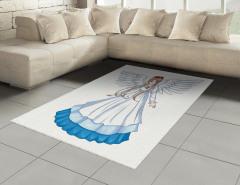 Melek Kız Desenli Halı (Kilim) Çocuk İçin Beyaz Mavi