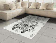 Noel Arabası Desenli Halı (Kilim) Siyah Beyaz Hediye