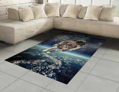 Astronot Temalı Halı (Kilim) Dünya Mavi Gri Uzay Şık