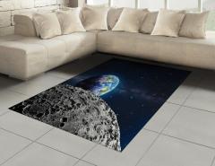 Dünya ve Ay Desenli Halı (Kilim) Uzay Temalı Gri Şık