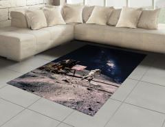 Ay ve Astronot Temalı Halı (Kilim) Gri Lacivert Şık