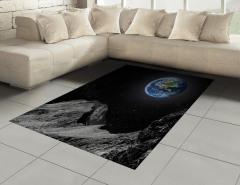 Ay ve Dünya Manzaralı Halı (Kilim) Uzay Temalı Gri
