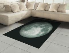 Ay Manzaralı Halı (Kilim) 3D Gri Siyah Uzay Trend