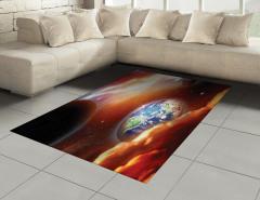 Dünya ve Galaksi Temalı Halı (Kilim) Turuncu Evren