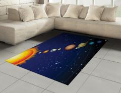 Güneş Sistemi Temalı Halı (Kilim) Uzay Lacivert Evren
