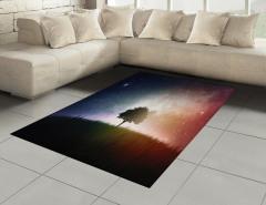 Ağaç ve Uzay Temalı Halı (Kilim) Yıldız Galaksi Evren