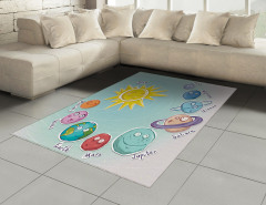 Güneş Sistemi Temalı Halı (Kilim) Çocuk İçin Mavi