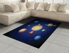 Güneş Sistemi Temalı Halı (Kilim) Uzay Şık Tasarım
