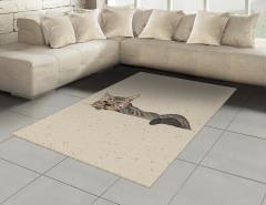 Kedi Desenli Halı (Kilim) Bej Trend Şık Tasarım Çizim