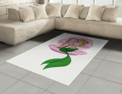 Arp Çalan Deniz Kızı Halı (Kilim) Mor Yeşil