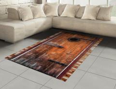 Kahverengi Ahşap Kapı Halı (Kilim) Dekoratif