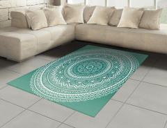 Mandala Çiçeği Desenli Halı (Kilim) Dekoratif
