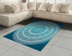 Mavi Mandalalı Desen Halı (Kilim) Dekoratif