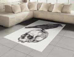 Kuzgun ve Kuru Kafa Halı (Kilim) Siyah Beyaz