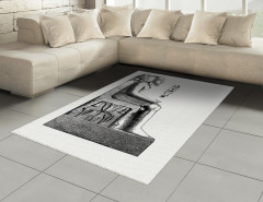 Oturan Mısır Heykeli Halı (Kilim) Hiyeroglifli