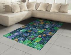 Yeşil Lacivert Mozaik Halı (Kilim) Geometrik