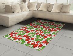 Çilekler ve Çiçekler Halı (Kilim) Kırmızı Yeşil