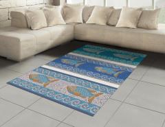 Mozaik Balık Desenli Halı (Kilim) Dekoratif