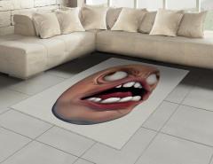 Beyaz Dişli Amorf Halı (Kilim) 3D Efektli