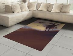 Çölde Uçan Kargalar Halı (Kilim) Sulu Boya