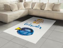 Mavi Sarı Balık Desenli Halı (Kilim) Sulu Boya Etkili
